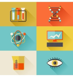 Science icons in flat design style vector image vector image