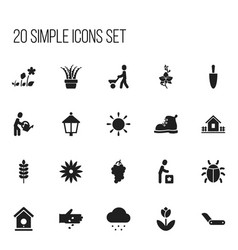 Set of 20 editable planting icons includes vector