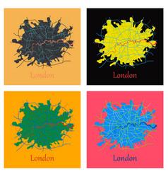 Set of flat color map of london united kingdom vector