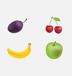 set of fruit isolated on white background vector image