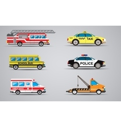 set of the isolated transport icons Fire vector image
