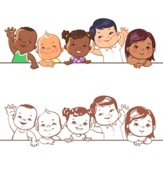 Smiling boys and girls of different races vector