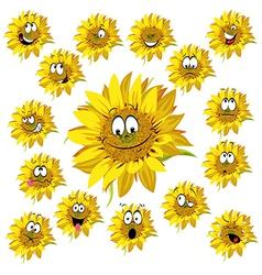 sunflower cartoon vector image vector image