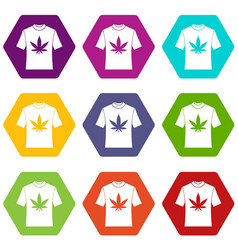 t-shirt with print of cannabis icon set color vector image