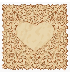 Vintage postcard with heart vector image