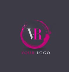 Vr letter logo circular purple splash brush vector