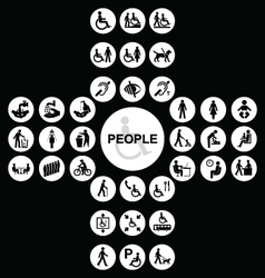 White cruciform disability and people Icons vector image vector image