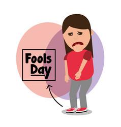 Woman sad with tied shoelaces joke fools day vector