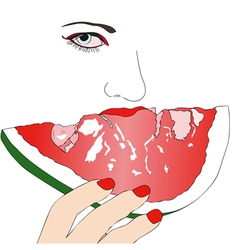 Woman with slice of watermelon vector image