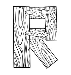 wooden letter r engraving vector image