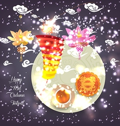 Chinese lotus lantern festival mid autumn full vector