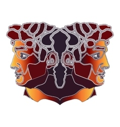 Bright twins portrait zodiac gemini sign vector