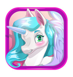 Cartoon app icon with cute unicorn face vector