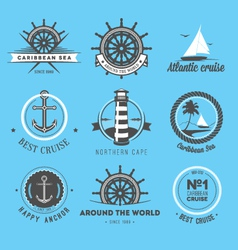 Set of vintage nautical labels icons and design e vector