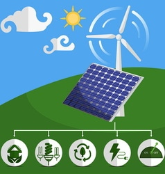 Solar energy panels and wind turbine vector