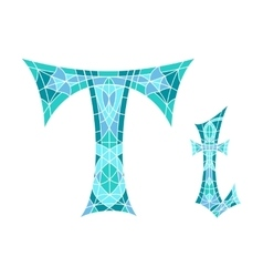 Low poly letter t in blue mosaic polygon vector