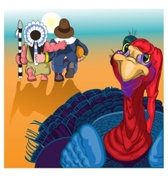 Beautiful colorful cartoon of turkey bird for vector