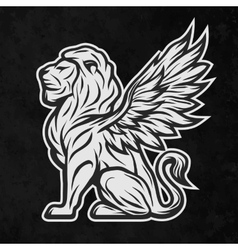 Lion with wings on a dark background vector
