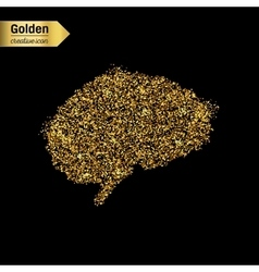 Gold glitter icon of brain isolated on vector