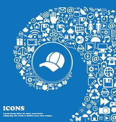 Ball cap icon sign Nice set of beautiful icons vector image
