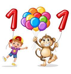 boy and monkey with balloon for number one vector image