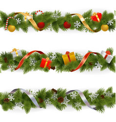 Christmas border set 3 vector
