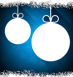 Christmas paper balls on blue background vector image