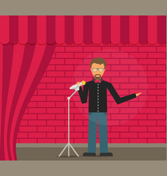 Comedian doing stand up flat vector