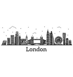 Engraved london england city skyline with modern vector
