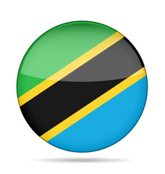 Flag of tanzania shiny round button vector