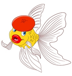 happy cartoon goldfish vector image