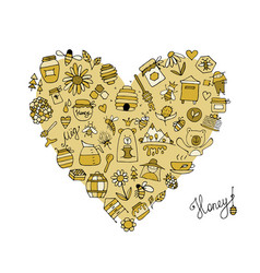 Honey apiary icons heart shape sketch for your vector