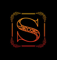 Letter s with ornament vector