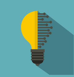 lightbulb with microcircuit icon flat style vector image