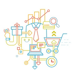 linear of color customer service set on whit vector image vector image