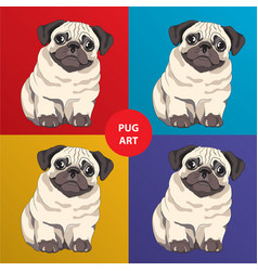 Lovely pug puppy cartoon character vector