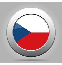 Metal button with flag - czech republic vector