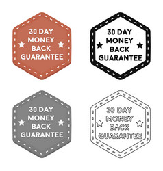 money back guarantee icon in cartoon style vector image
