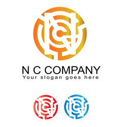 N and c inspired business logotype icon vector