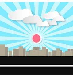 Paper Abstract Retro City with Street and vector image vector image