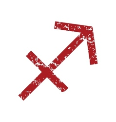 Red grunge Sagittarius logo vector image vector image
