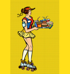 retro fast food waitress on roller skates vector image