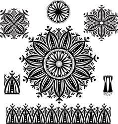 Round Ornament Pattern with pattern brush vector image