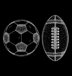 rugby and soccer ball sketch vector image