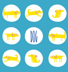 set of stickers with yellow dogs in poses vector image vector image