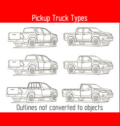 Truck pickup types template drawing vector