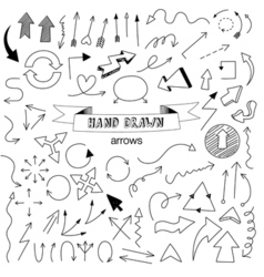 Unique collection of hand drawn arrows vector image vector image