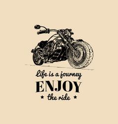 vintage detailed custom motorcycle vector image vector image