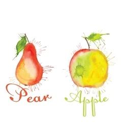 Watercolor fruit set with blots vector