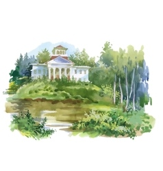 Watercolor painting of house in woods vector image